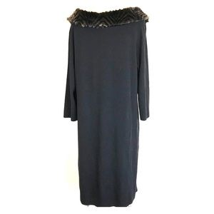 Nina Leonard Wool Dress Black Faux Fur Neckline